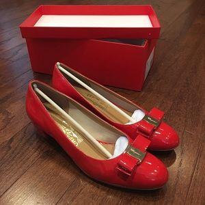 Red patent leather Ferragamo flats - like new!